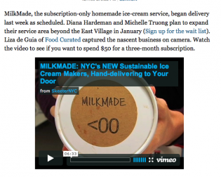 MILKMADE Press in NY GrubStreet